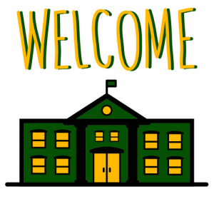 """Welcome"" above a green and gold school house"