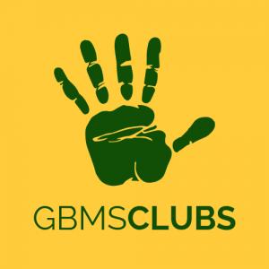 Gold background, with a green handprint. GBMSCLUBS written below the handprint