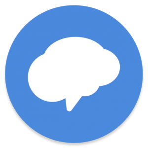 blue circle with a cloud word box in the middle