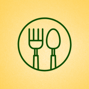 Gold background with a green circle containing a green fork and knife