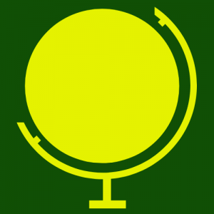 gold globe with green background
