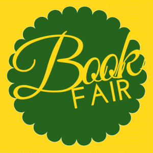 Book Fair in gold with green circle around it