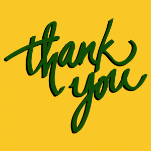 thank you in green and black with gold background