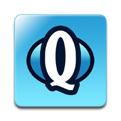 "Blue background with white ""Q"""