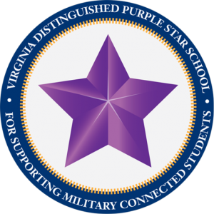 Purple Star with Virginia Distinguished Purple Star School For Supporting Military Connected Students in a blue circle around the star.