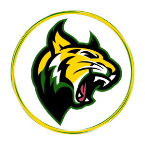 Green and Gold Wildcat with green, gold, and black circle around it.