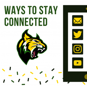 Ways to stay connected with a picture of the gbms wildcat logo. Green, Yellow, Black Confetti at the bottom. Picture of half of a mobile device with logos of mail, twitter, instagram, and youtube.