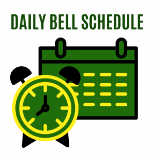 Daily Bell Schedule. Green, gold, and yellow color click and calendar