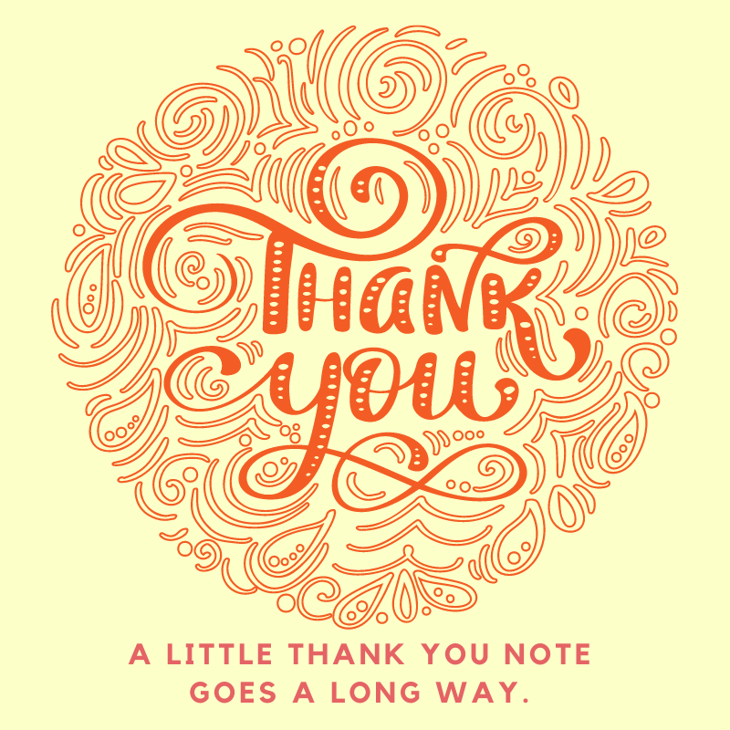 Thank You - A little thank you note goes a long way. - yellow and orange lines.