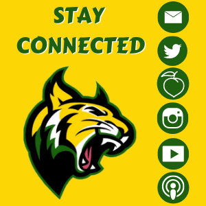 """Stay connected"" with a picture of the gbms wildcat logo. Green, Yellow, Black Confetti at the bottom. Picture of half of a mobile device with logos of mail, peachjar, twitter, instagram, youtube, and podcast."