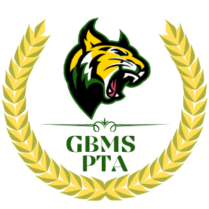 GBMS PTA with Green and Gold Wildcat and an award ribbon