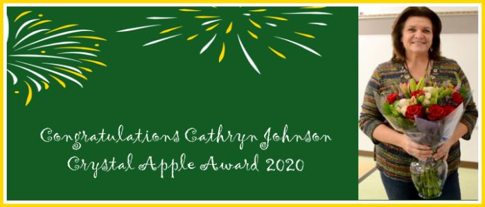 Congratulations Cathryn Johnson Crystal Apple Ward 2020