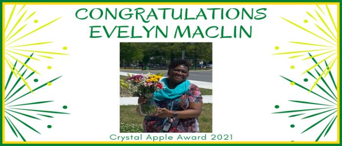 Congratulations Eveleyn Maclin Crystal Apple Award 2021