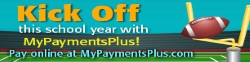 Kick off this school year with MyPaymentPlus! Pay onlilne at MyPaymentsPlus.com with image of football