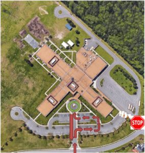 Arial photo of Grassfield Elementary showing the new traffic pattern for morning drop off.