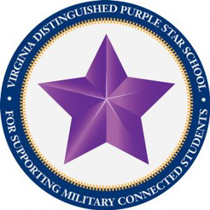 Emblem recognizing GFE as a Virginia Distinguished Purple Star School for Supporting Military connected Students