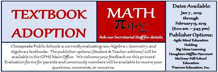textbook adoption for algebra1, geometry, algebra2. please give input from parents and community