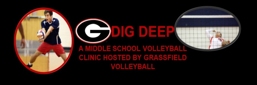 dig deep volleyball camp for missle school students hosted by grassfield volleyball team G banner