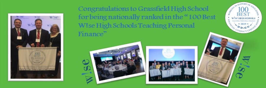 wise financial literacy banner grassfield high school is ranked in the top 100 schools certified in wise financial literacy across the nation
