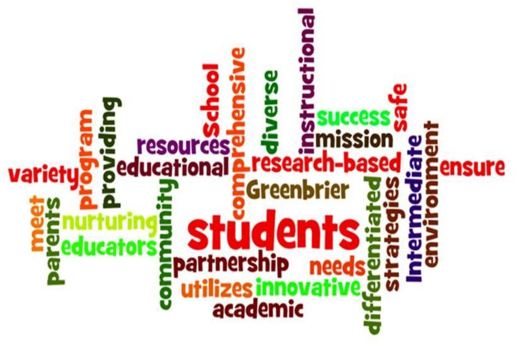 Mission statement key words variety program providing school educational resources diverse instructional success mission safe research-based Greenbrier meet parents nurturing educators community partnership utilizes innovative academic needs differentiated strategies intermediate environment ensure students