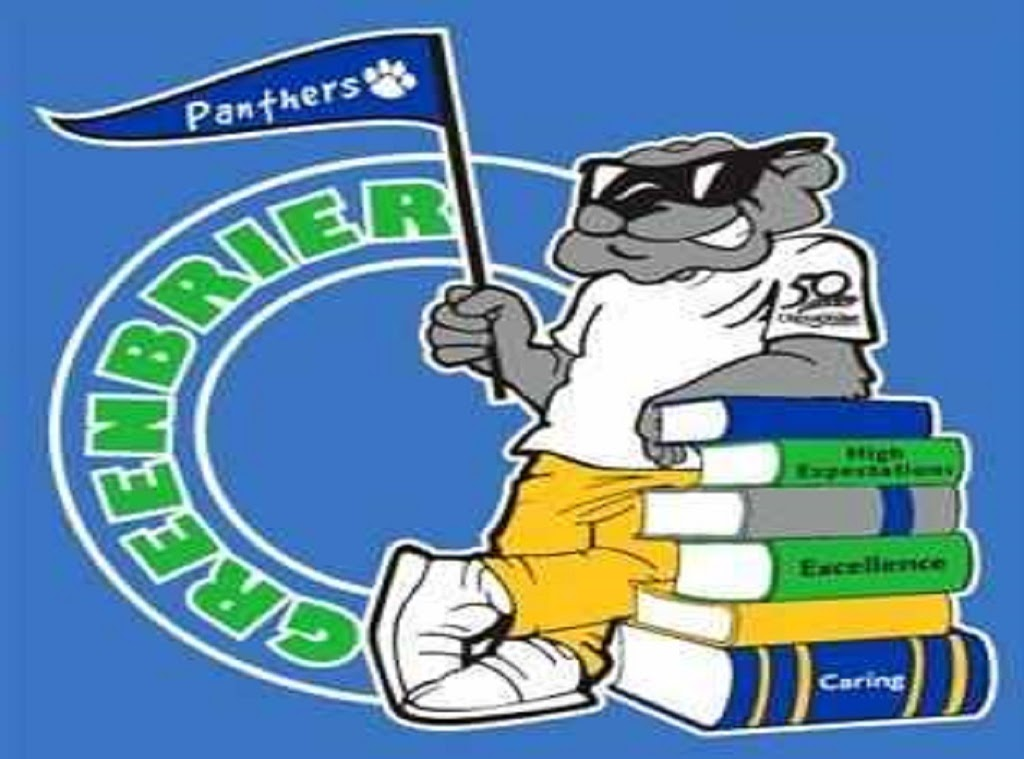 Greenbrier Panther leaning against books showing words high expectations excellence and caring