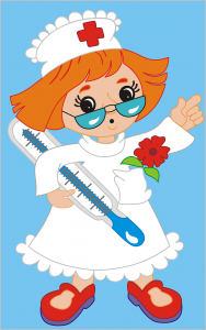 Nurse holding thermometer picture.