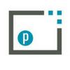 Parchment logo gray rectangle blue p