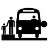 Stick figure family holding hands next to a bus