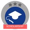 Scholarship white graduation cap red banner three grey stars