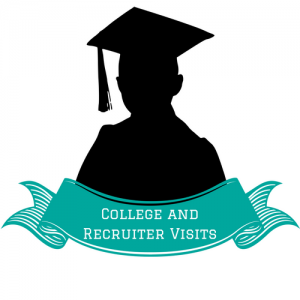 College and Recruiter Visits student with graduation cap teal banner