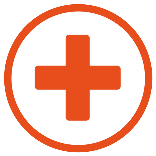 Red cross in a red circle