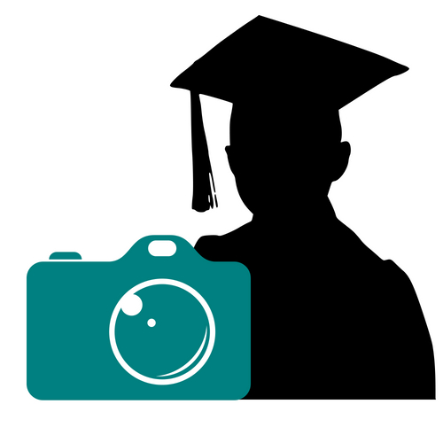 Teal Camera with silhouette of student with graduation cap