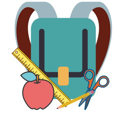 Teal back pack, ruler, apple, scissors, pencil.