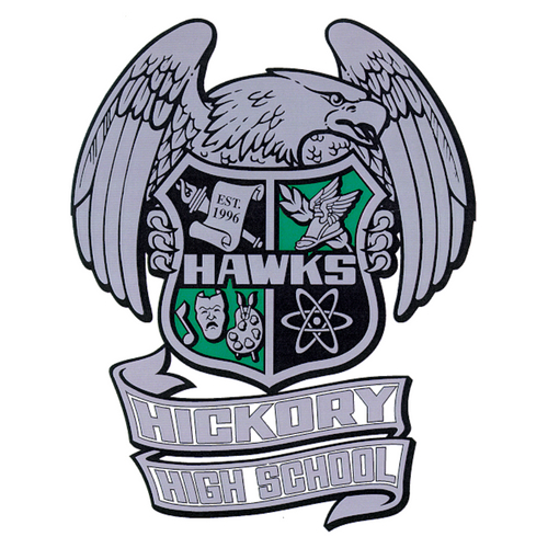 Hawks Hickory High School Hawk Seal and Emblem Hawk Holding a Shield with academic images in shield