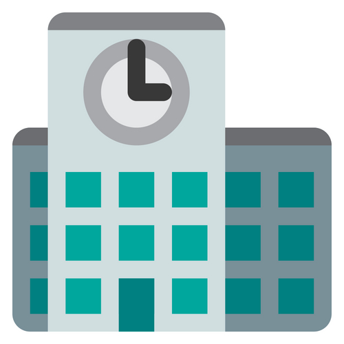 School Building with a clock teal gray and black