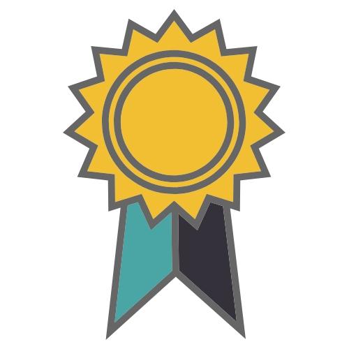 Yellow Award Teal and Black Ribbon
