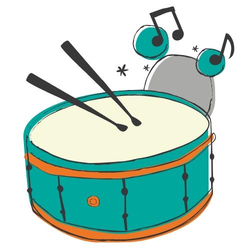 Teal Drum Black Drum Sticks Black Music Notes Teal Circles