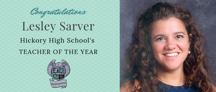 Congratulations Lesley Sarver Hickory High School's TEacher of the Year Picture of Lesley Sarver Brown hair blue dress