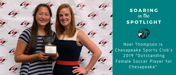"""Soaring in the Spotlight Noel Thompson is Chesapeake Sports Club's 2019 """"Outstanding Female Soccer Player for Chesapeake"""" Student and principal with a teal hawk"""