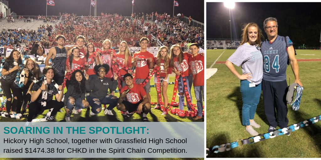 Soaring in the spot light: Hickory High School, together with Grassfield High School raised $1474.38 for CHKD in the Spirit Chain Competition.