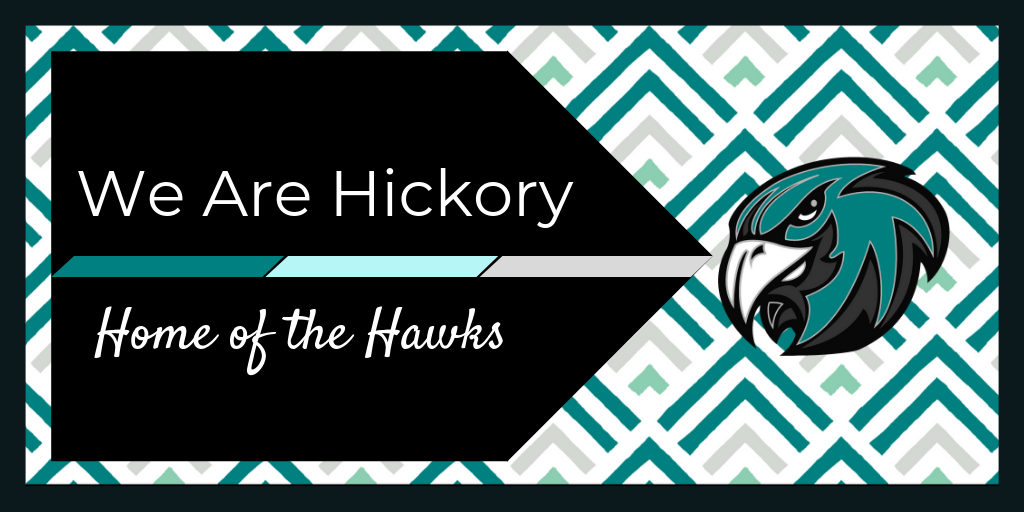 We Are Hickory Home of the Hawks pattern with Hawk Head