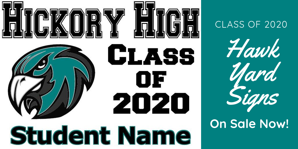 Hickory High School Class of 2020 Student Name Class of 2020 Hawk Yard Sign On sale Now. Teal hawk head yard sign.