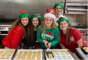 Students baking cookies