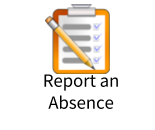 Pencil atop clipboard with checklist Report an Absence