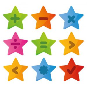 different colored stars with math symbols on them