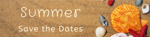 Assorted Shells on Sandy Background- Summer Save the Dates