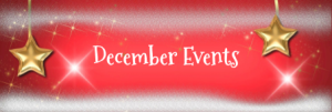 Red background with 2 gold stars: December Events
