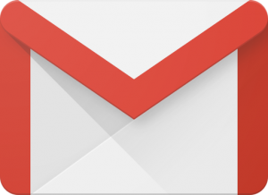 white envelope with red trim to represent email