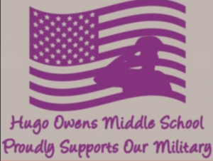 Purple Silhouette of American Flag and Soldier Saluting:Hugo Owens Middle School Proudly Supports our Military