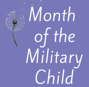 Dandelion on purple background: Month of the Military Child